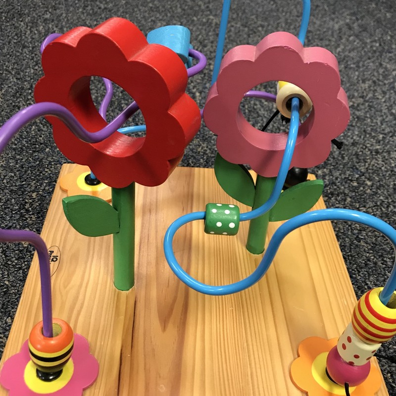Wood Bead Maze w/Flowers in great condition. Not your average  bead maze!  NO SHIPPING-in store pick up only