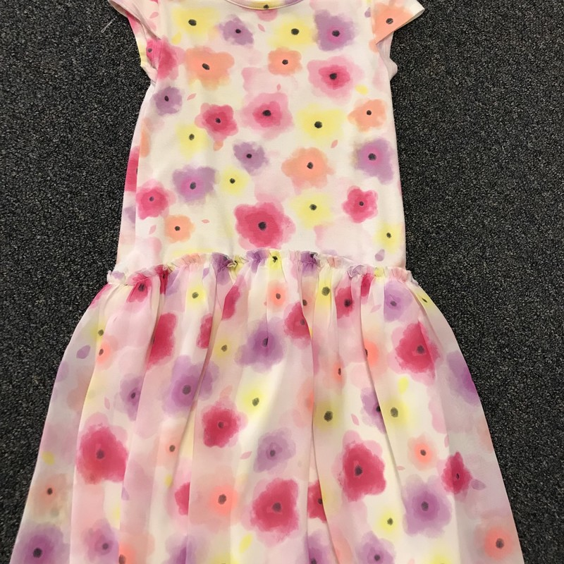 SS Dress W Ruffle/flowers, great condition, size 7