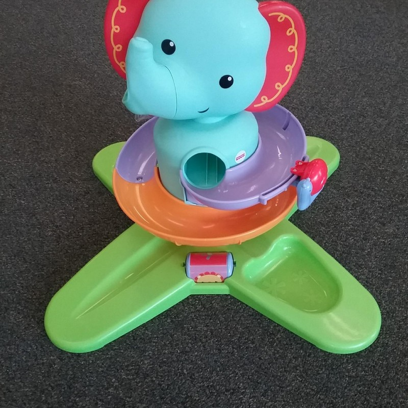 Fisher Price Swirling Safari Elephant w/ 3 balls and sounds, in excellent condition. NO SHIPPING-in store pick up only.