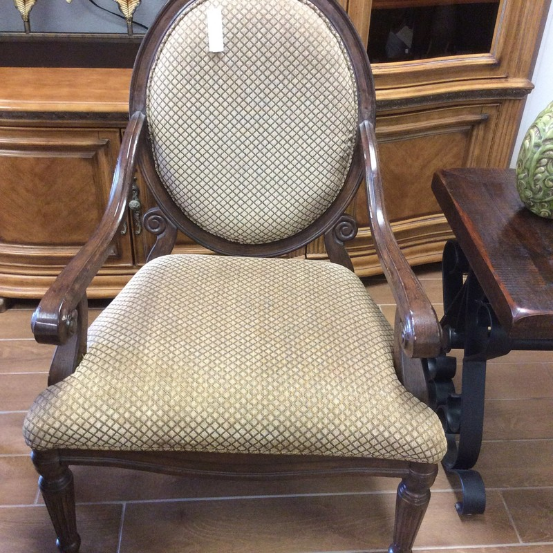 This is a lovely pair of upholstered armchairs. A little on the feminine side, they feature soft, curvy woodwork and a lovely gold colored diamand -  patterned upholstery. Excellent condition.